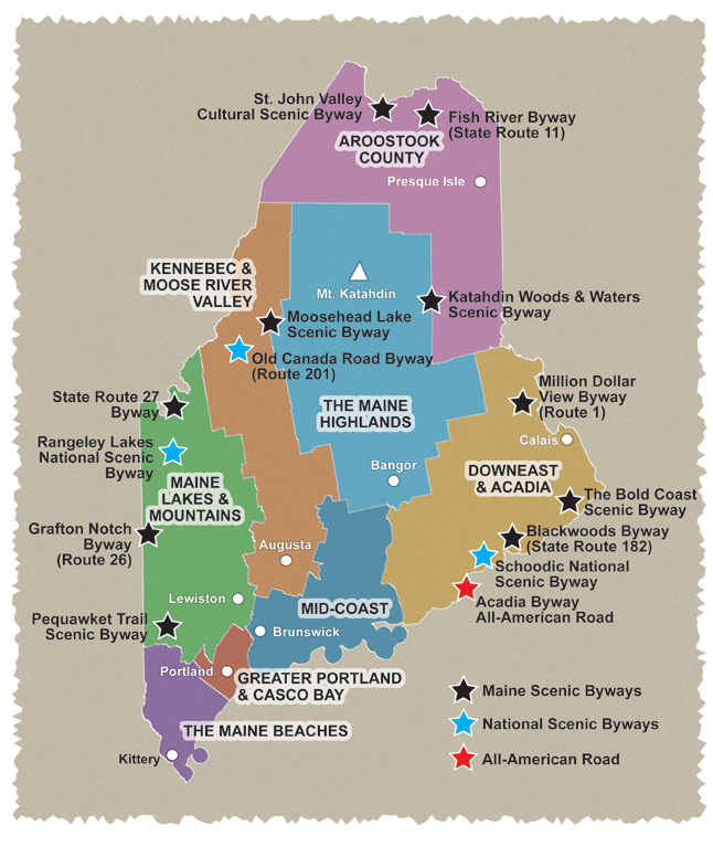 Map Of Maine Lakes.Explore Maine Explore Maine Scenic Byways